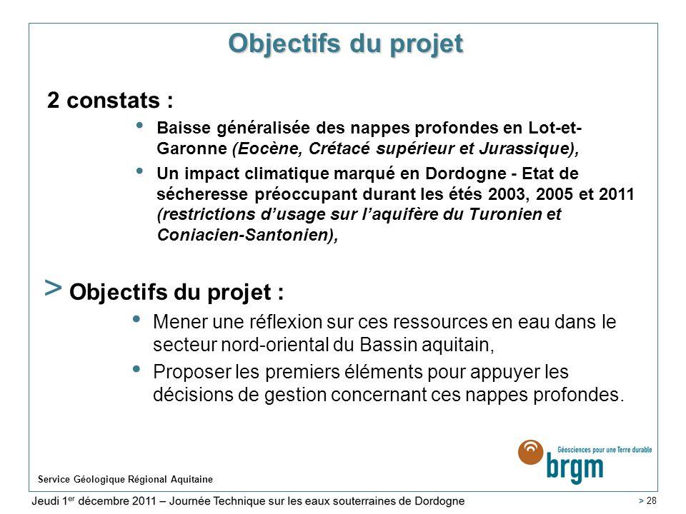 Objectifs du projet 2 constats : Objectifs du projet :