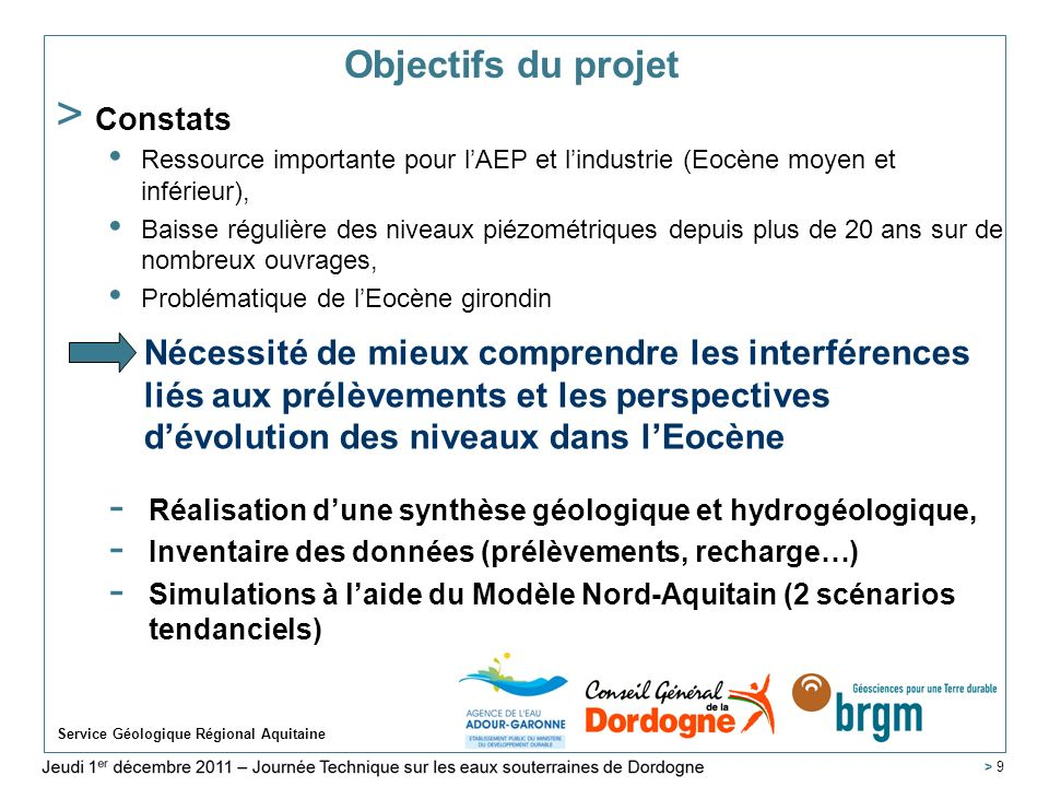 Objectifs du projet Constats. Ressource importante pour l'AEP et l'industrie (Eocène moyen et inférieur),