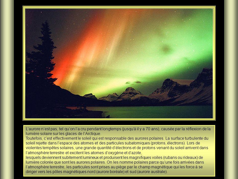 L'aurore n'est pas, tel qu'on l'a cru pendant longtemps (jusqu'à il y a 70 ans), causée par la réflexion de la lumière solaire sur les glaces de l'Arctique.