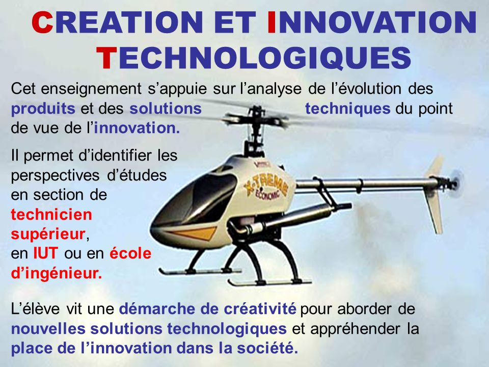 CREATION ET INNOVATION TECHNOLOGIQUES