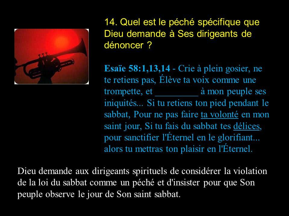 14. Quel est le péché spécifique que Dieu demande à Ses dirigeants de dénoncer