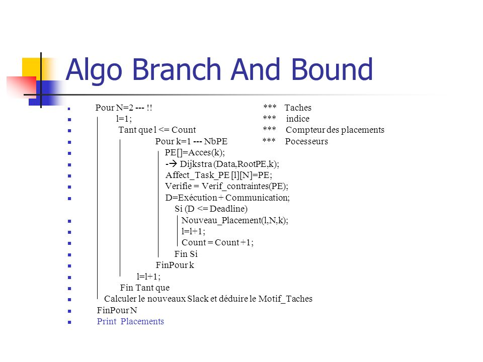 Algo Branch And Bound l=1; *** indice