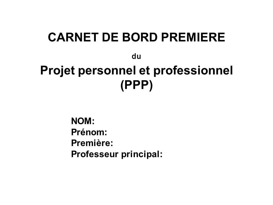 CARNET DE BORD PREMIERE du Projet personnel et professionnel (PPP)