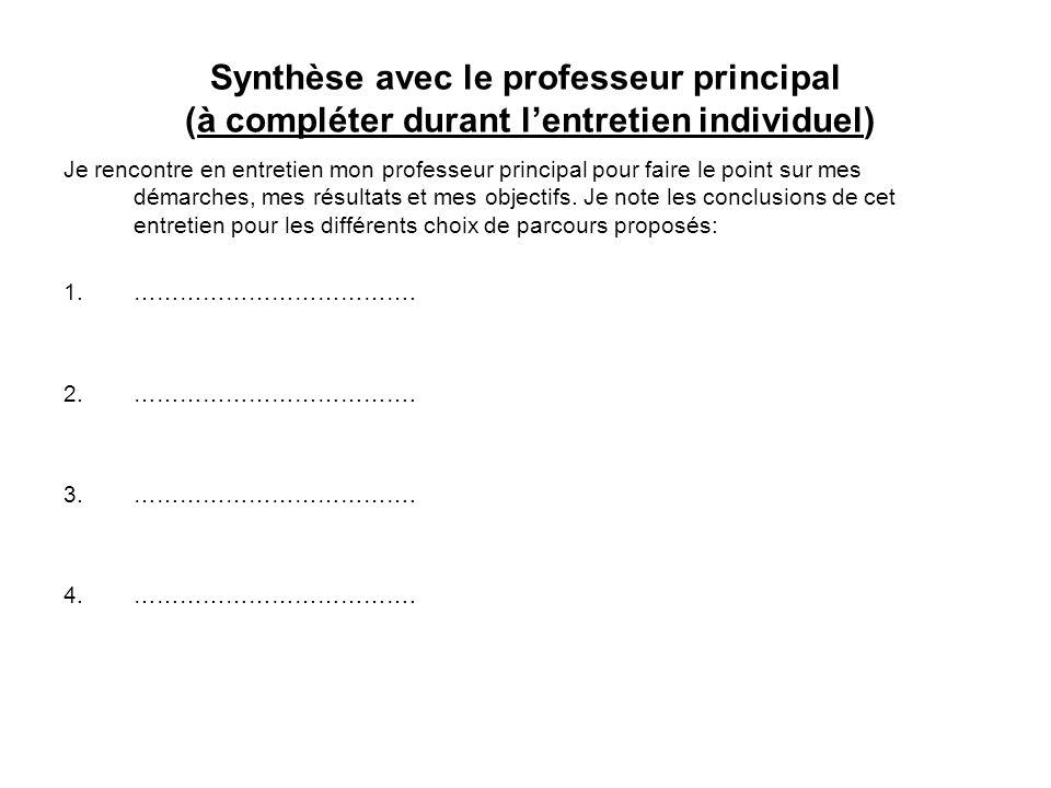 Synthèse avec le professeur principal (à compléter durant l'entretien individuel)