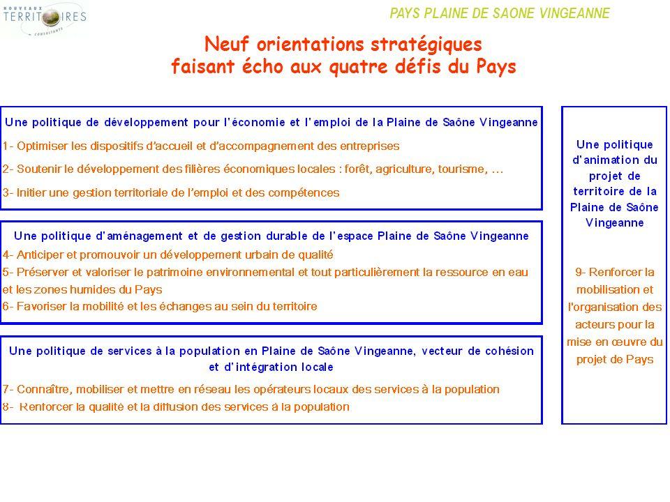 Neuf orientations stratégiques faisant écho aux quatre défis du Pays
