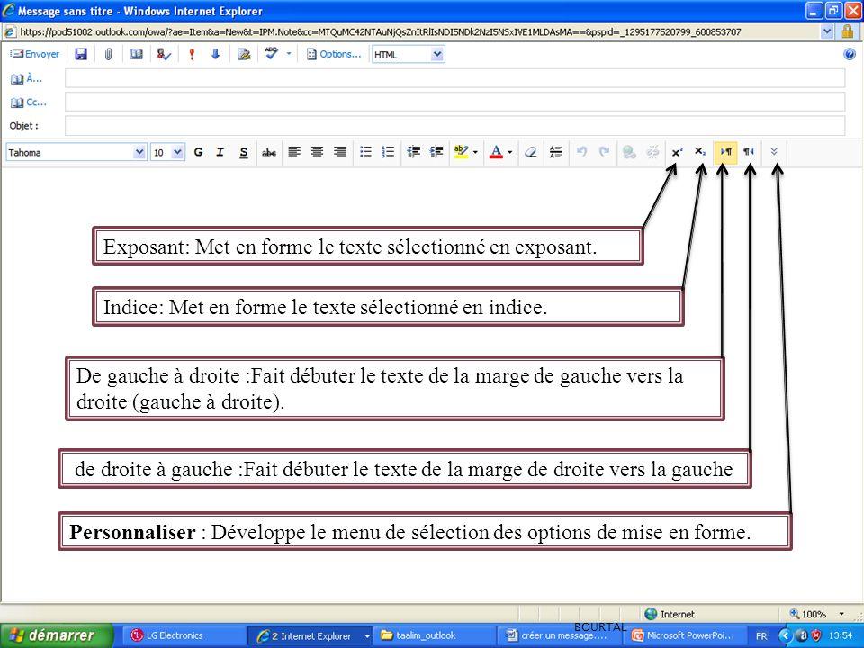 Indice: Met en forme le texte sélectionné en indice.