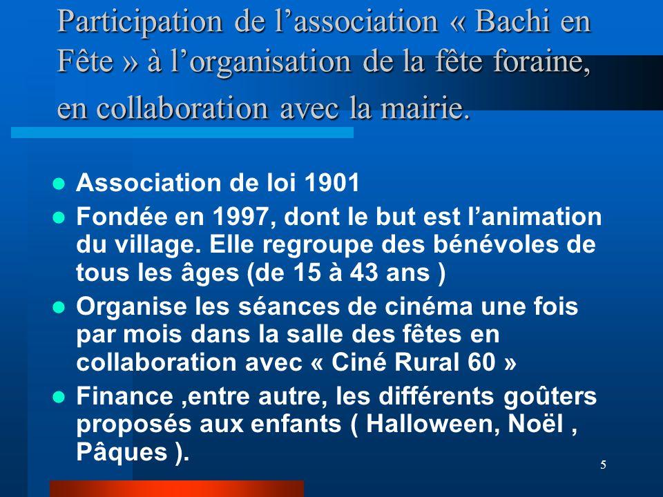 Participation de l'association « Bachi en Fête » à l'organisation de la fête foraine, en collaboration avec la mairie.