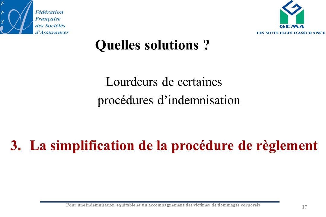 La simplification de la procédure de règlement