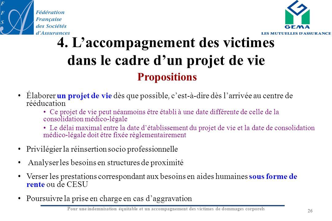 4. L'accompagnement des victimes dans le cadre d'un projet de vie