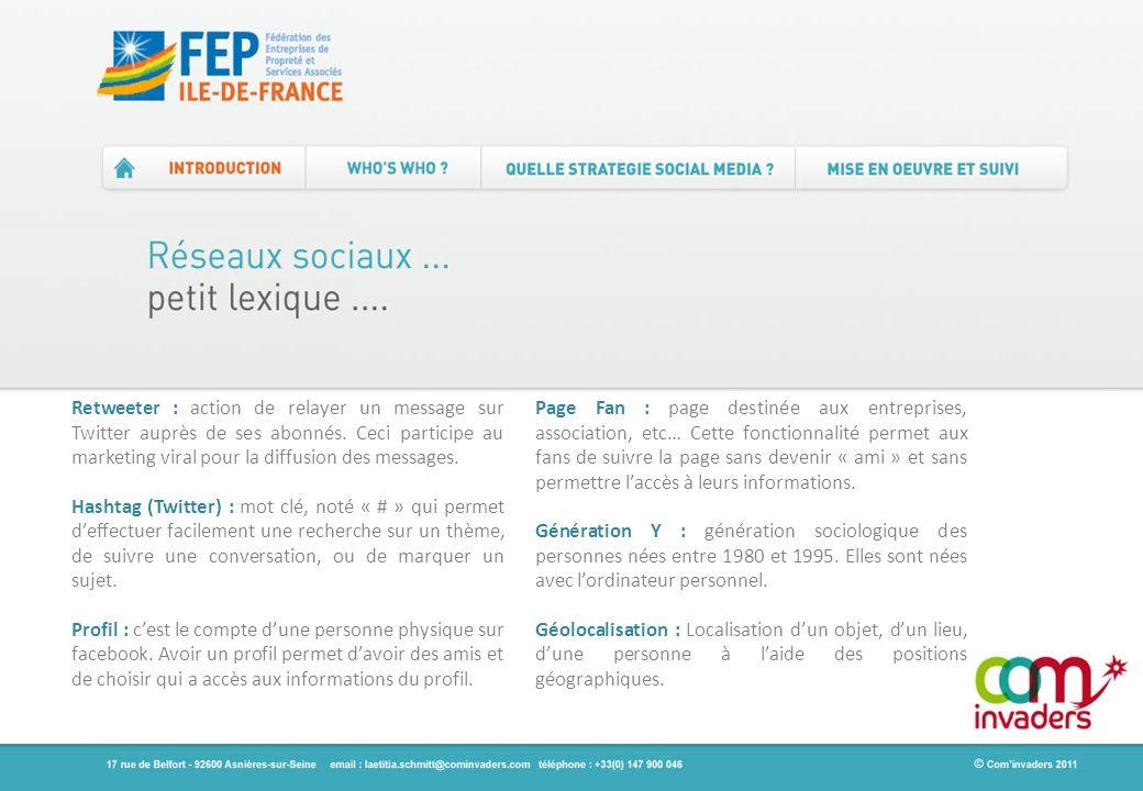 Retweeter : action de relayer un message sur Twitter auprès de ses abonnés. Ceci participe au marketing viral pour la diffusion des messages.
