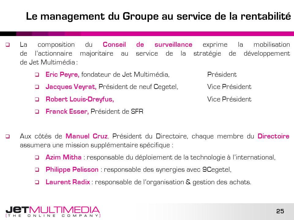 Le management du Groupe au service de la rentabilité