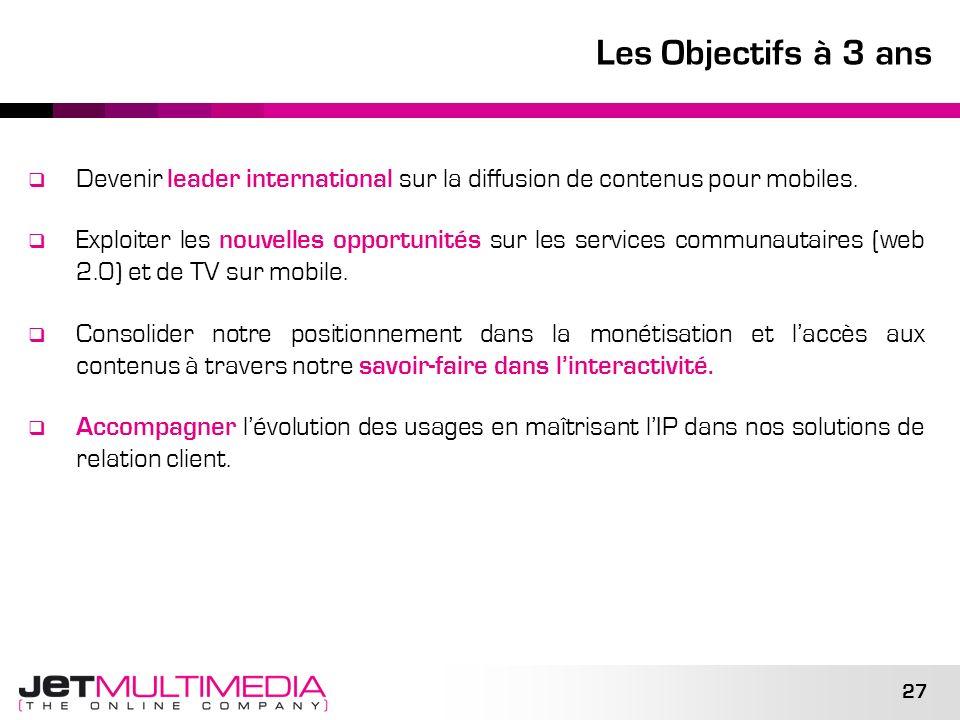 Les Objectifs à 3 ans Devenir leader international sur la diffusion de contenus pour mobiles.
