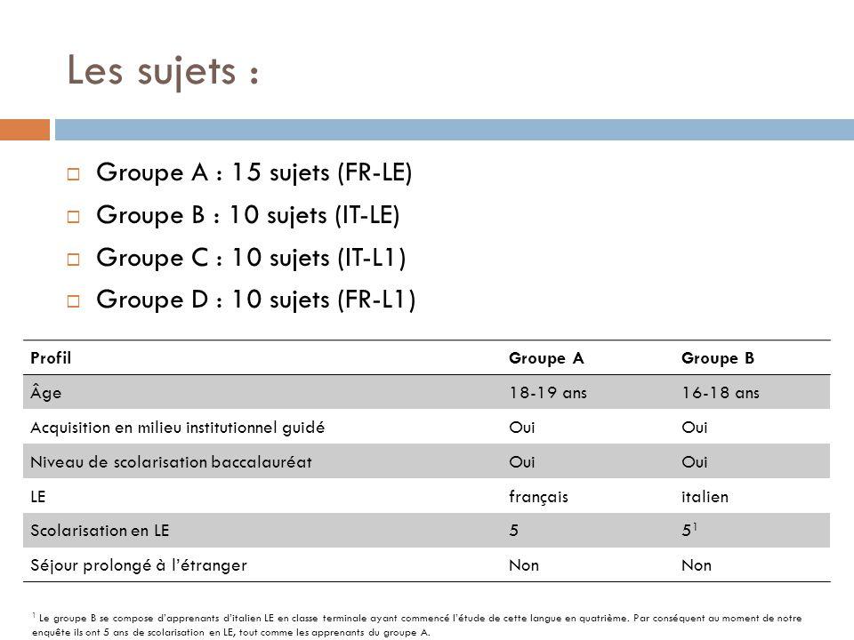 Les sujets : Groupe A : 15 sujets (FR-LE) Groupe B : 10 sujets (IT-LE)