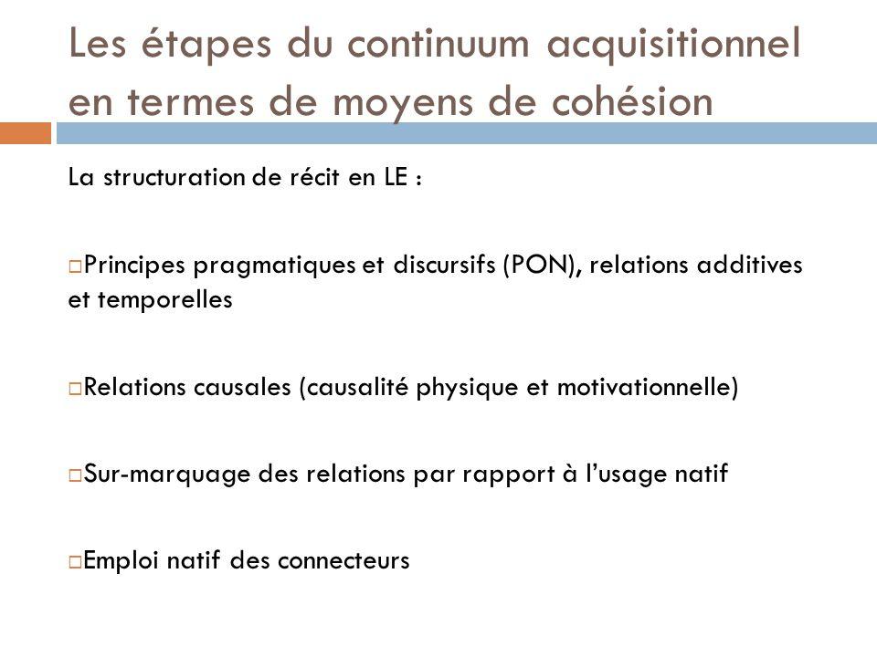 Les étapes du continuum acquisitionnel en termes de moyens de cohésion