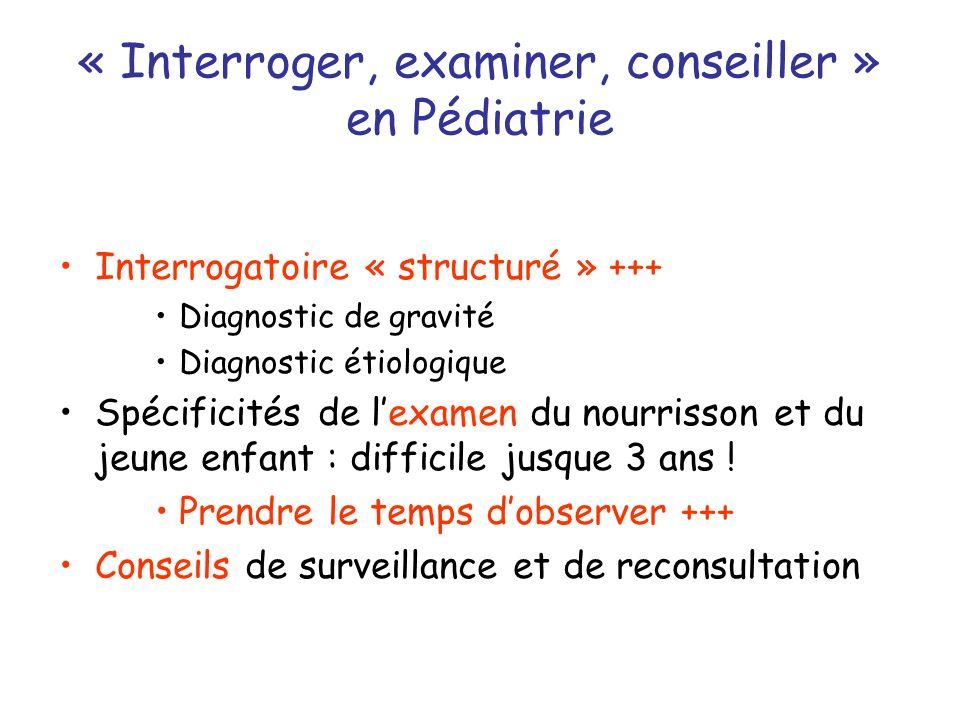 « Interroger, examiner, conseiller » en Pédiatrie
