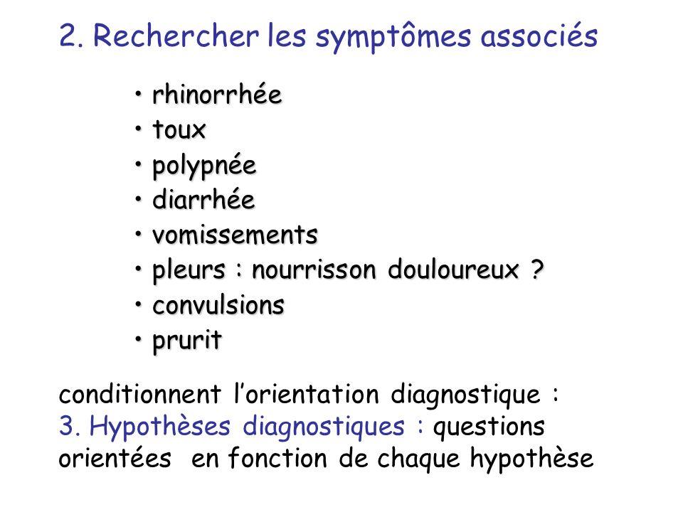 2. Rechercher les symptômes associés