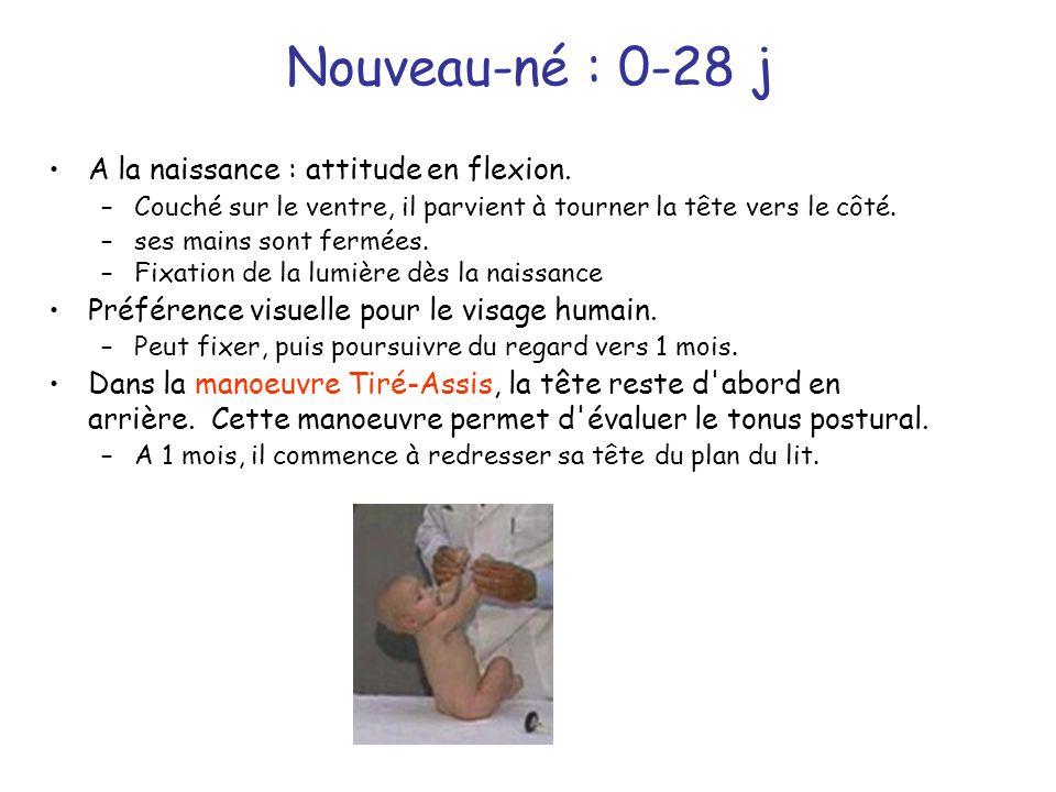 Nouveau-né : 0-28 j A la naissance : attitude en flexion.
