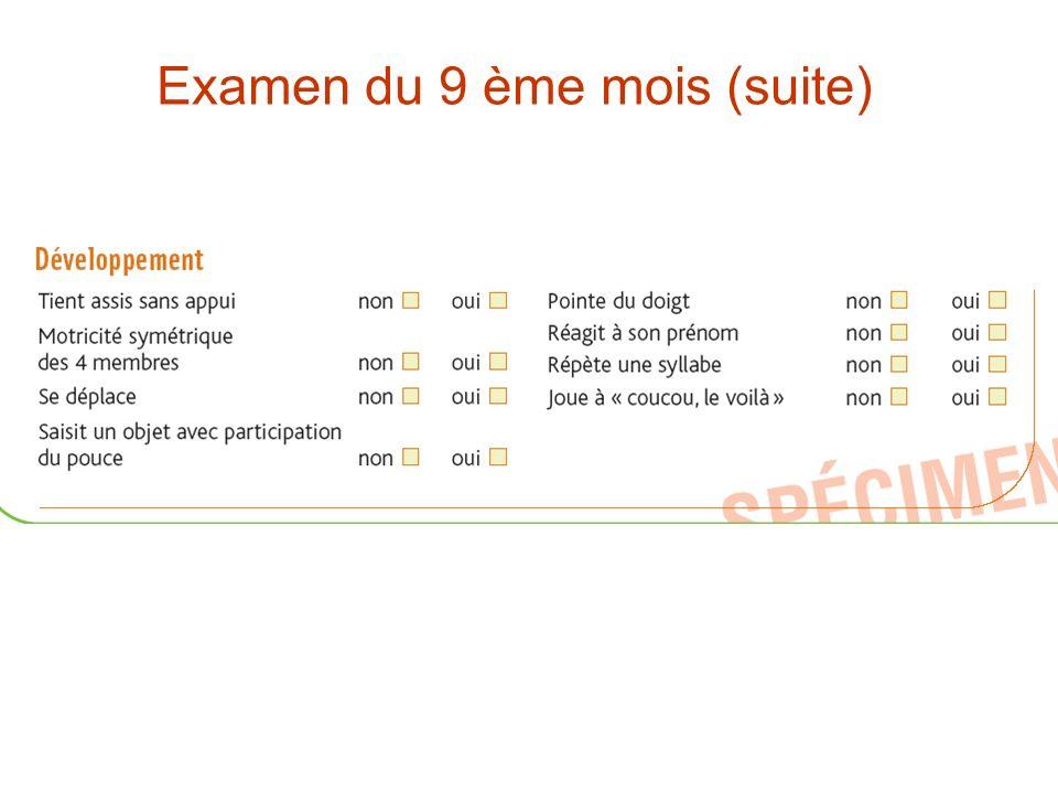 Examen du 9 ème mois (suite)