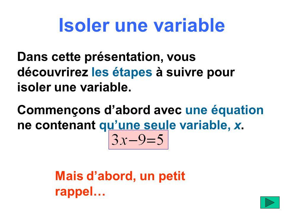 Isoler une variable Dans cette présentation, vous découvrirez les étapes à suivre pour isoler une variable.
