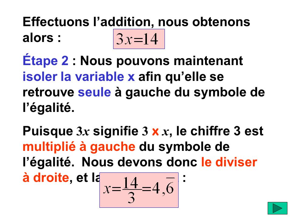 Effectuons l'addition, nous obtenons alors :