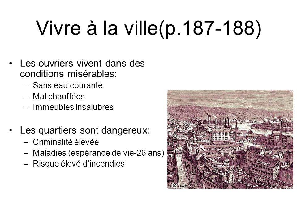 Vivre à la ville(p.187-188) Les ouvriers vivent dans des conditions misérables: Sans eau courante.