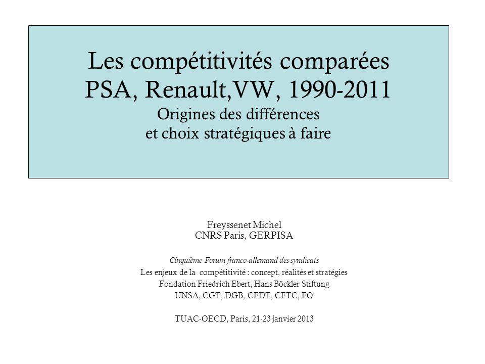 Les compétitivités comparées PSA, Renault,VW, 1990-2011 Origines des différences et choix stratégiques à faire