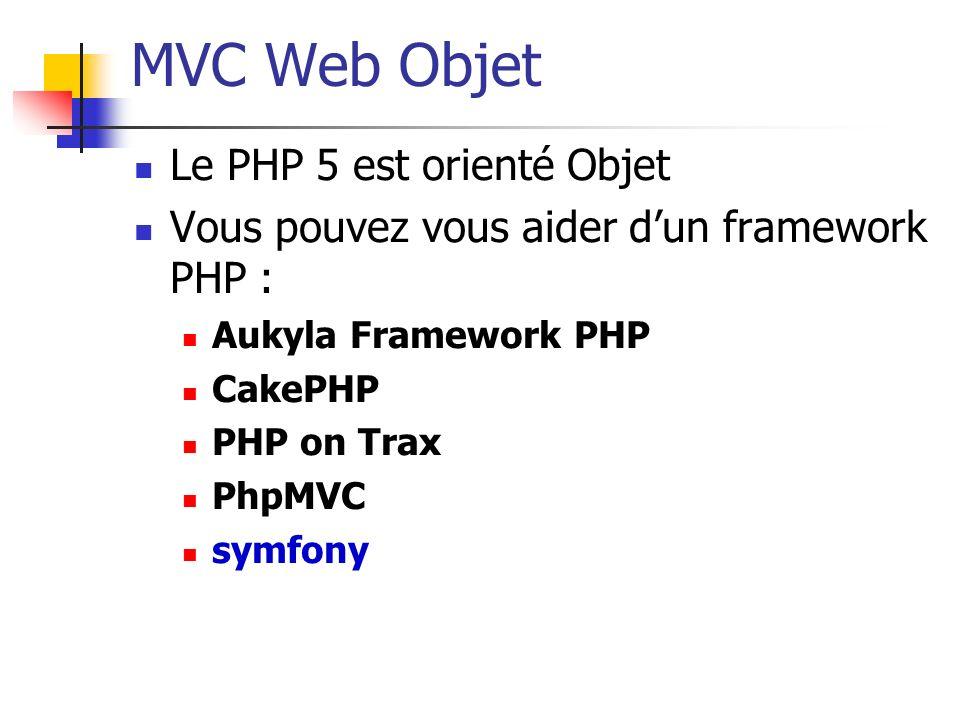 MVC Web Objet Le PHP 5 est orienté Objet