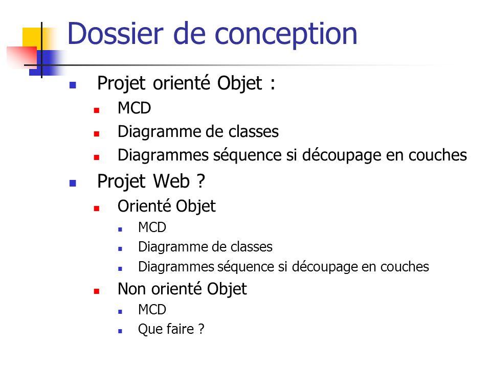 Dossier de conception Projet orienté Objet : Projet Web MCD