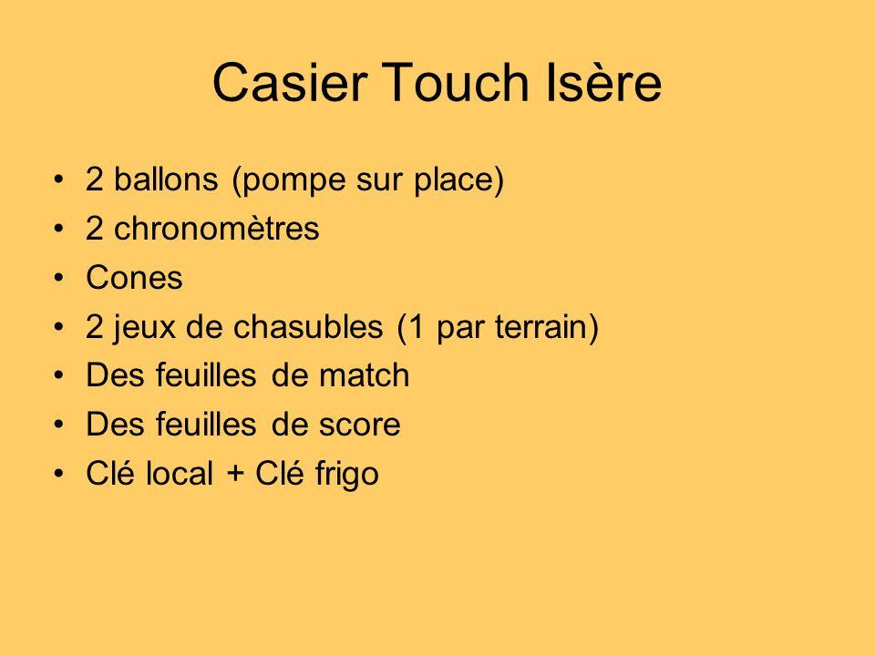 Casier Touch Isère 2 ballons (pompe sur place) 2 chronomètres Cones