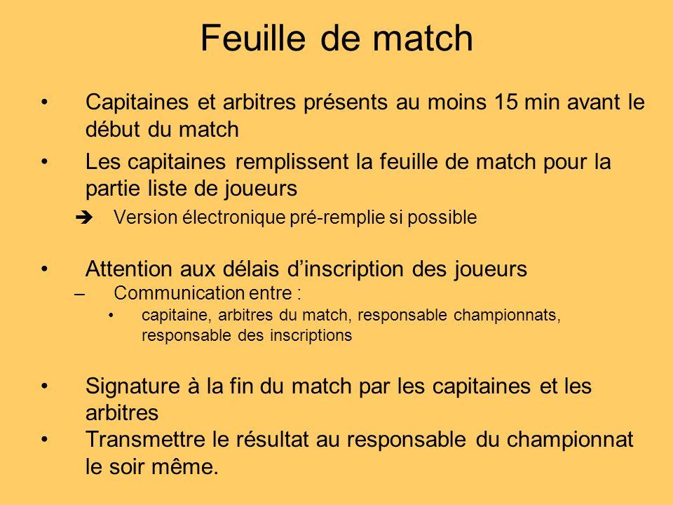 Feuille de match Capitaines et arbitres présents au moins 15 min avant le début du match.