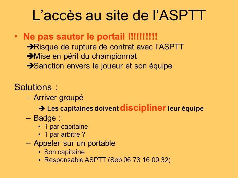 L'accès au site de l'ASPTT