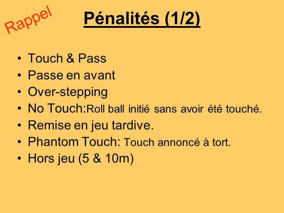 Pénalités (1/2) Rappel Touch & Pass Passe en avant Over-stepping