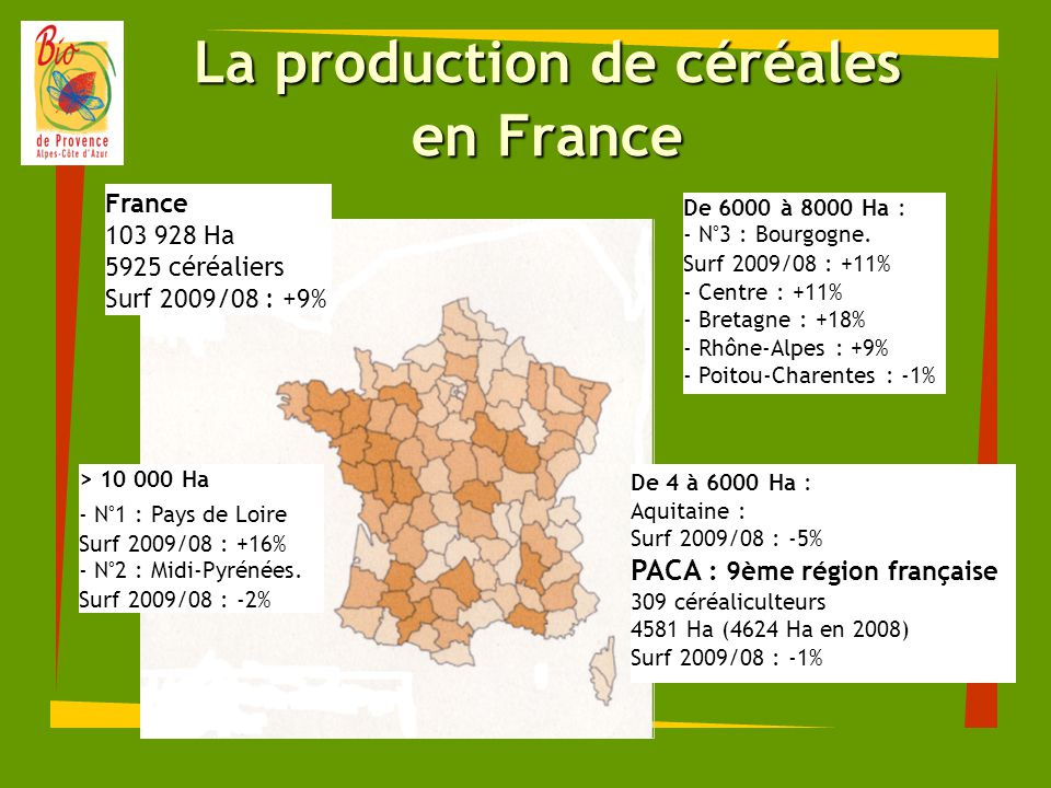 La production de céréales en France