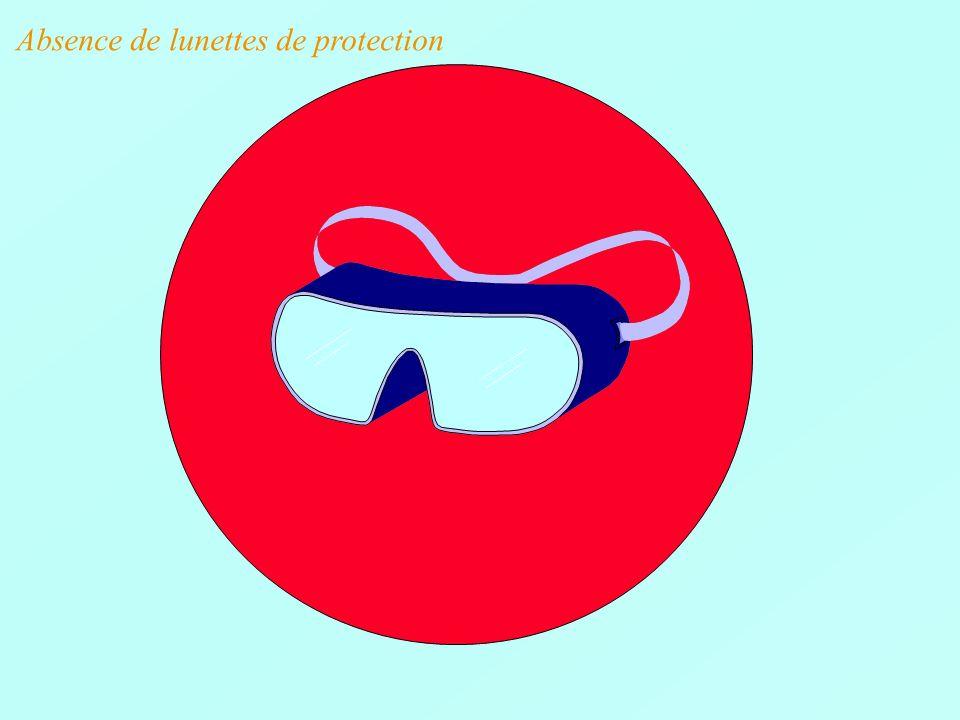 Absence de lunettes de protection