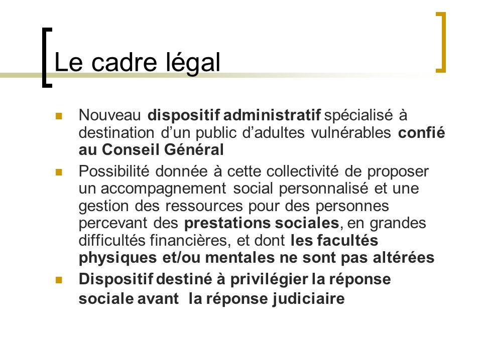 Le cadre légal Nouveau dispositif administratif spécialisé à destination d'un public d'adultes vulnérables confié au Conseil Général.