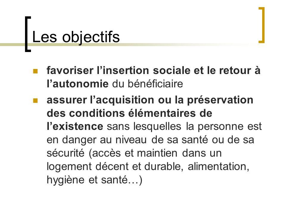 Les objectifs favoriser l'insertion sociale et le retour à l'autonomie du bénéficiaire.
