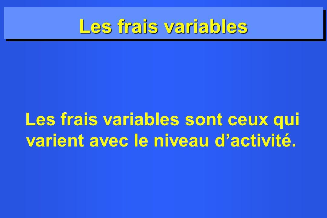 Les frais variables Les frais variables sont ceux qui varient avec le niveau d'activité.