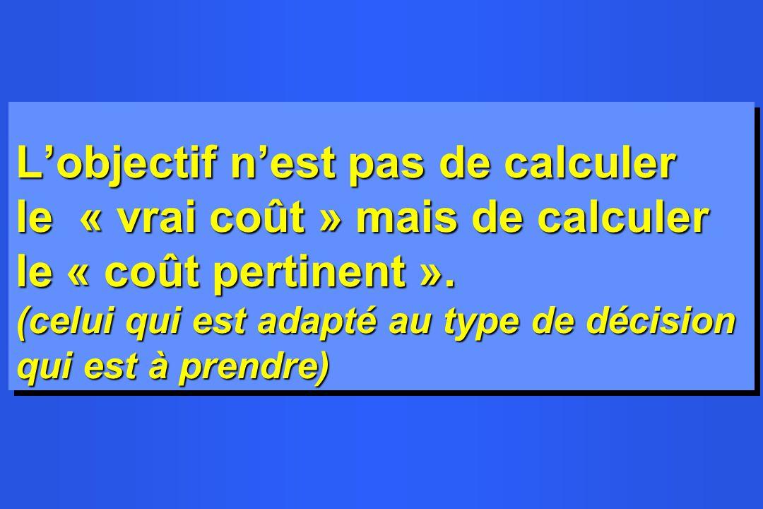 L'objectif n'est pas de calculer le « vrai coût » mais de calculer le « coût pertinent ».