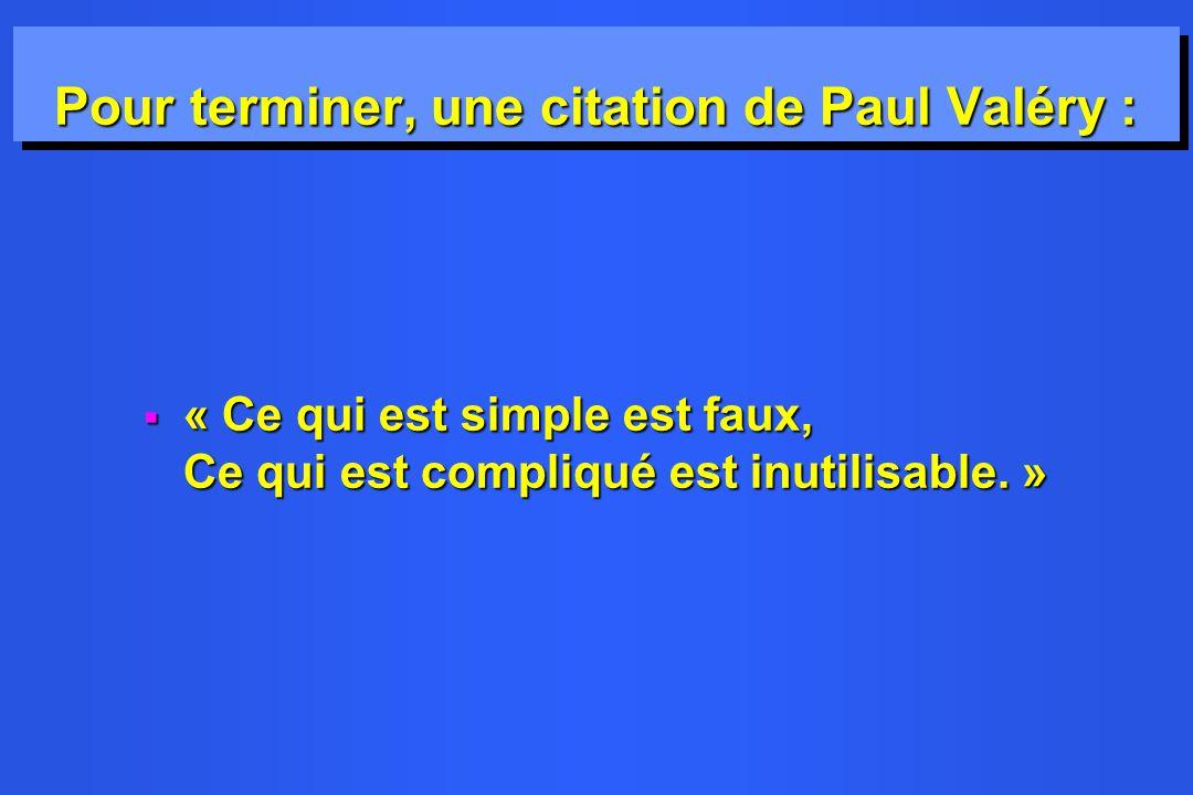 Pour terminer, une citation de Paul Valéry :
