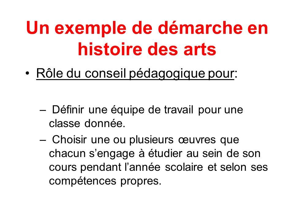Un exemple de démarche en histoire des arts