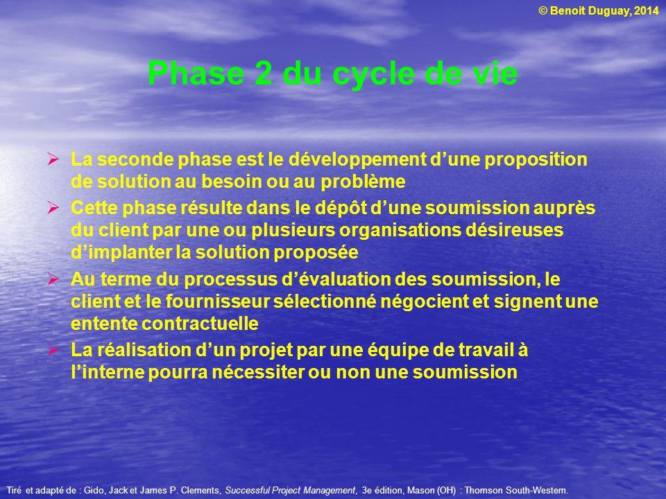 Phase 2 du cycle de vie La seconde phase est le développement d'une proposition de solution au besoin ou au problème.