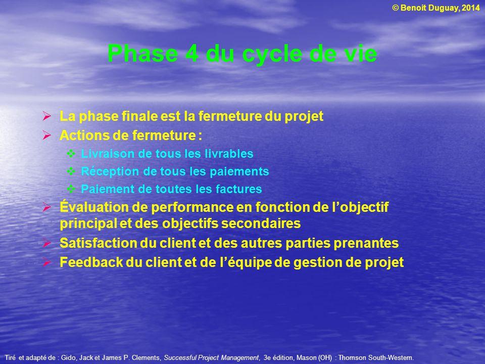Phase 4 du cycle de vie La phase finale est la fermeture du projet