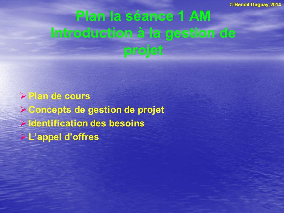 Plan la séance 1 AM Introduction à la gestion de projet