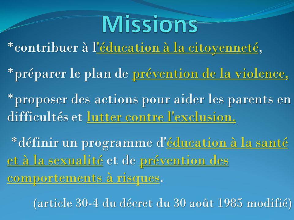 Missions *contribuer à l éducation à la citoyenneté,