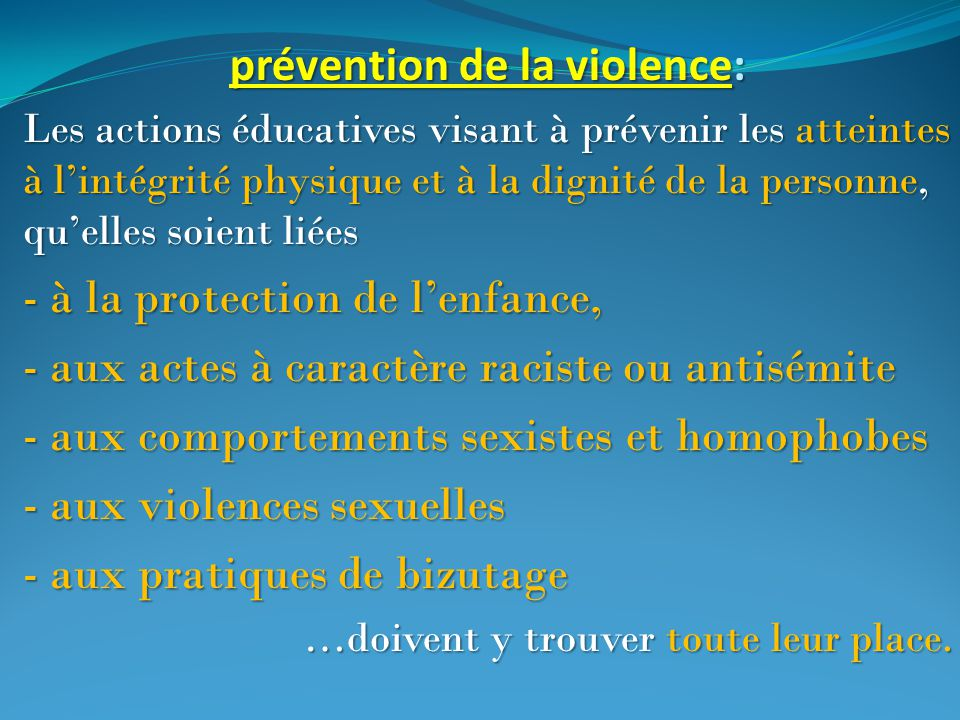 prévention de la violence: