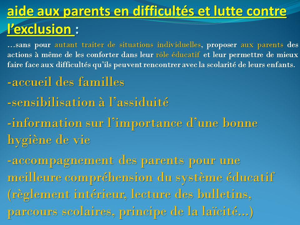 aide aux parents en difficultés et lutte contre l'exclusion :