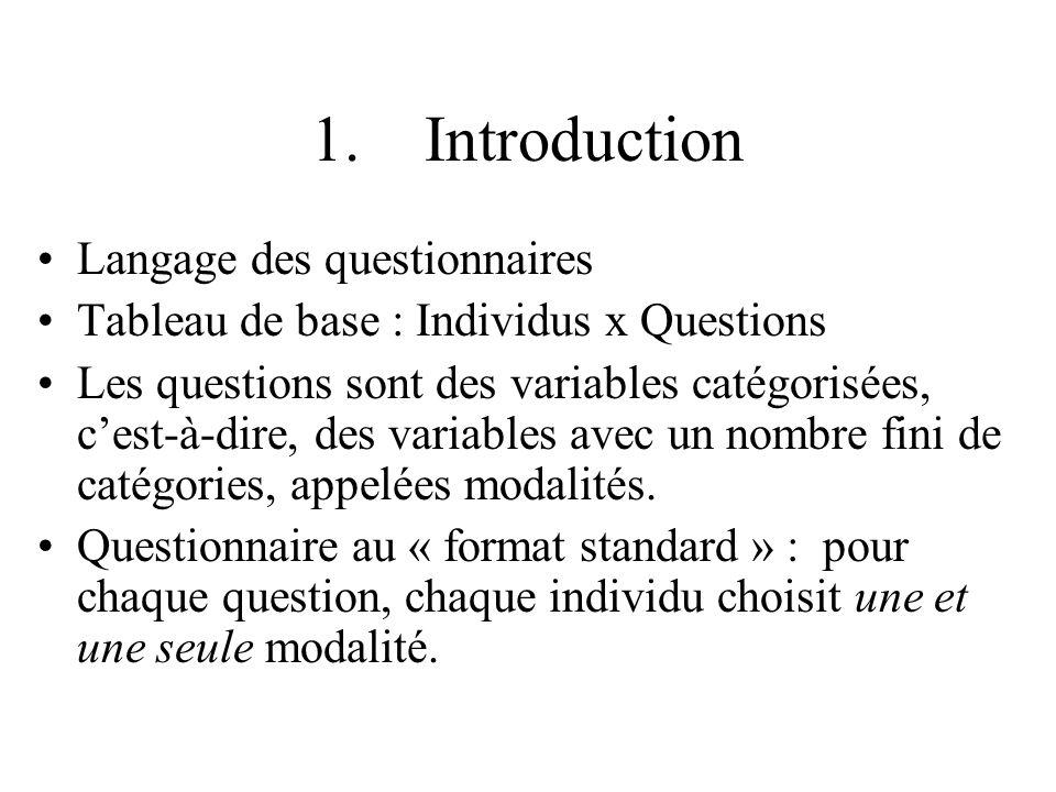 1. Introduction Langage des questionnaires