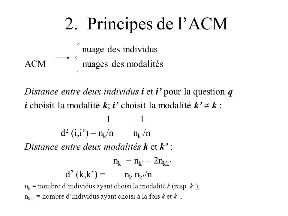 2. Principes de l'ACM nuage des individus ACM nuages des modalités