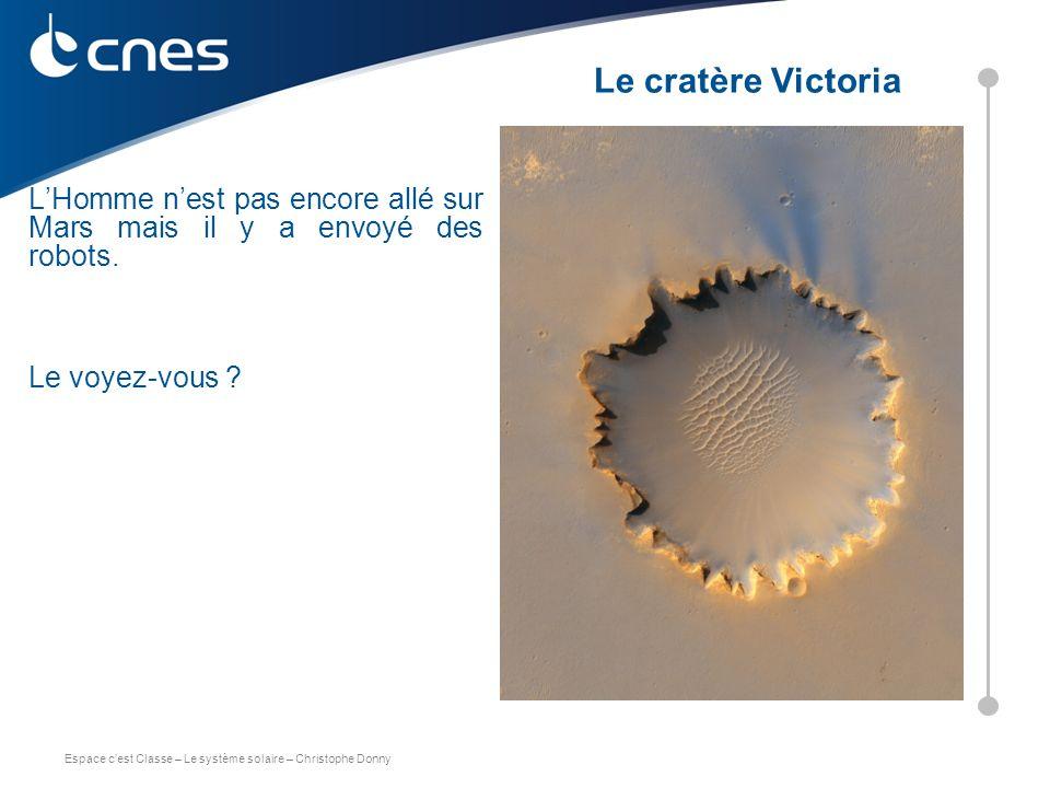 Le cratère Victoria L'Homme n'est pas encore allé sur Mars mais il y a envoyé des robots. Le voyez-vous