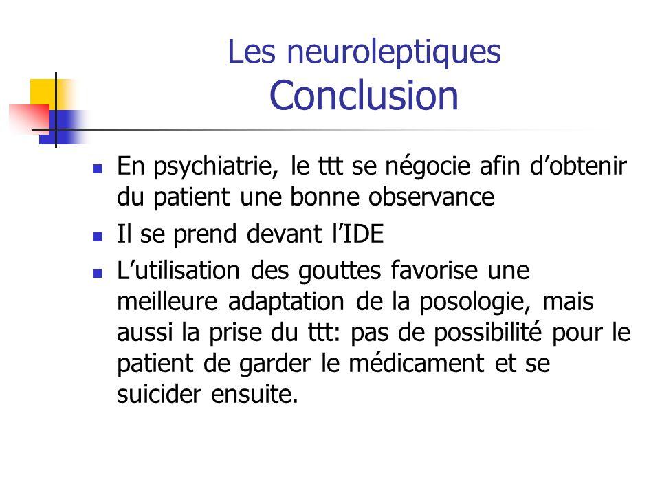 Les neuroleptiques Conclusion